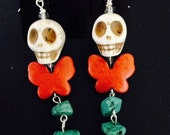 Day Of The Dead Frida Kahlo Mexican Icon Inspired  Earrings-- All the Glory of Day of the Dead