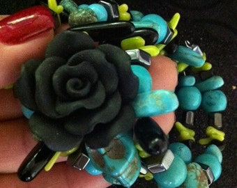 Rockabilly Day of the Dead Bracelet Coral Chips Turquoise - Every Design Tells A Story-