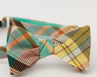 aqua, yellow, & grey freestyle bow tie