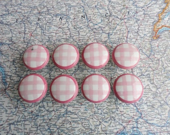 SALE! 8 pink/white check pattern round porcelain knobs set #2
