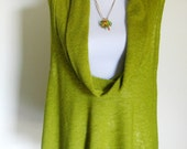 Chartreuse Stretchy Knit Tunic Top for Women, Bright New-Leaf Green Tunic in Stretchy Knit, Cowl Collar Tunic in Chartreuse