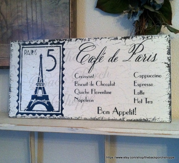 READY to SHIP - ONLY 1 Available - Cafe de Paris - 9 x 18 - French Kitchen Signs - Bon Appetit - Eiffel Tower
