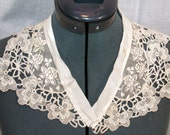 Vintage Flowered Lace Medallions Collar Reclaimed