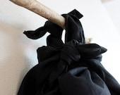 eco black linen furoshiki wrap bag ready to wear