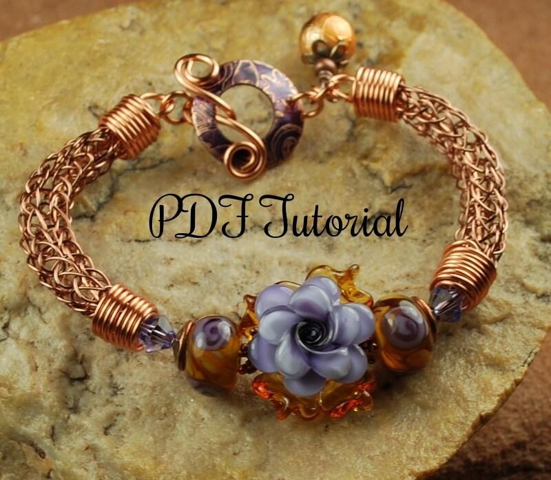 Viking Knitting Tutorial Pdf : Lavender rose viking knit bracelet tutorial lampwork
