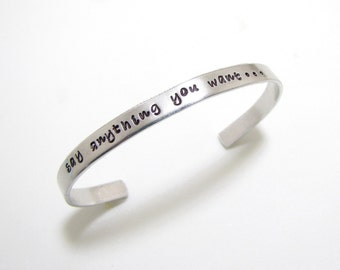 Personalized Cuff Bracelet, Custom Hand Stamped Bracelet, Names, Quotes, Personalized Jewelry,  Aluminum Custom Cuff Bracelet, Jewelry
