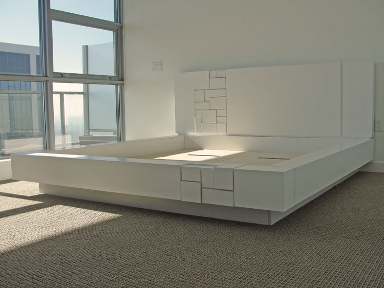 abaci oak platform bed white lacquer headboard with by mstrf. Black Bedroom Furniture Sets. Home Design Ideas