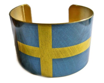 Sweden FLAG cuff bracelet Swedish Brass or aluminum Heritage Gifts for her