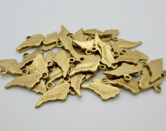 North Carolina State Charm, Raw Brass, 5 pieces, Made in the USA