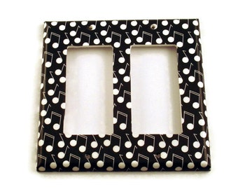 Wall Decor Light Switch Cover  Double Rocker  Switchplate Switch Plate in Melody   (177DR)