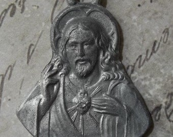 Large Catholic Sacred Heart Of Jesus Holy Medal, Religious Medallion, Heart Aflame Wreathed In Crown Of Thorns
