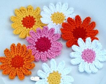 Crochet Daisy Flowers Summer White Yellow Orange Pink
