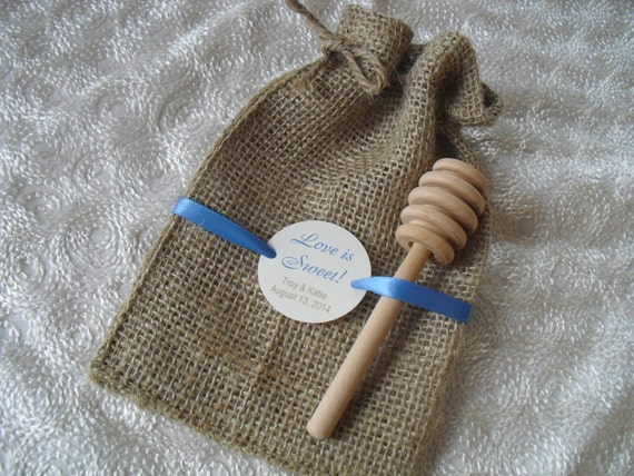 SET OF 10 Love is Sweet Personalized Burlap Wedding Favor Bags with Honey Dipper - Item 4B1137