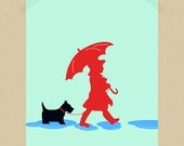 Printable A Girl and Her Scottie Dog 8 x 10 Nursery Art Scottish Terrier Pet Print Two Puddle Jumpers Daughter Print Wall Art