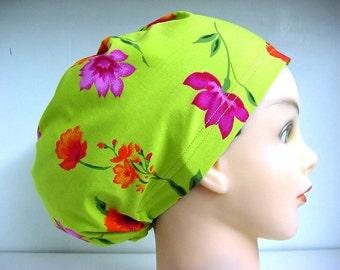 Womens Hybrid Style Surgical Scrub Hat Cap Floral Awakening Green Purple Orange