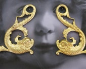 Natural Raw Brass Mythical Koi Dragon Fish Stampings 819RAW x2