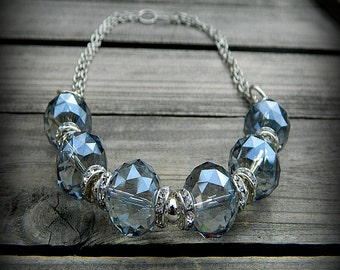 Frozen, Western Cowgirl Southwestern Faceted Blue Crystal & Rhinestone Beaded Necklace