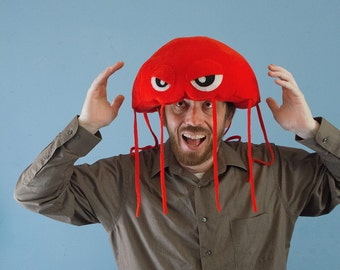 Jellyfish Hat Plush Fleece - Red