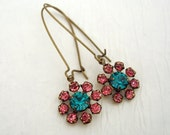 Vintage  Swarovski   Blue Zircon And Hot Pink Crystals Earrings.
