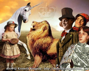 The Lion and the Unicorn - 11x14 Through the Looking Glass Inspired Fantasy Collage Print