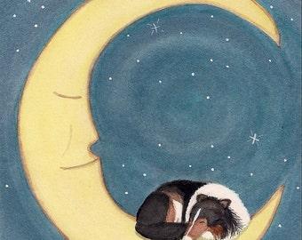 Tri-color shetland sheepdog (sheltie) sleeping on moon / Lynch signed folk art print