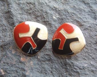 Monet Earrings, Vintage Monet Enamel Pierced Earrings, Vintage Monet Earrings, Monet Jewelry