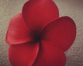 Plumeria, red, red plumeria, Tiki,Tropical flower,Hair flower, Flower clip, Ready to ship,luau, wedding,tropical hair flower