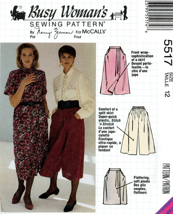 McCalls 5517 Nancy Zieman Mock Wrap Split Skirt Culottes Busy Womans Size 12 UNCUT Vintage Sewing Pattern 1991