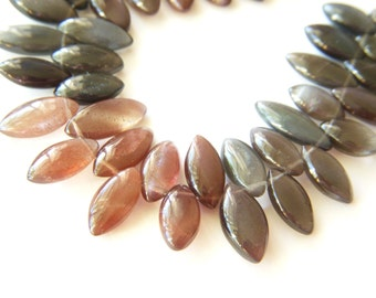 Cat's-Eye Scapolite Marquise Polished Drops - Half Strand - 10x14mm - 3 Inches