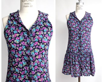 Cape Collar Mini Dress | Vintage Rayon Dress | Floral Print Dress | XS-S