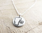 Tiny Vermont necklace, silver state jewelry, map jewelry