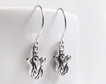 Very tiny anatomical heart earrings, sterling silver human heart