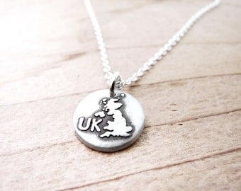 Tiny United Kingdom necklace, silver UK jewelry, map charm pendant