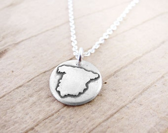 Tiny Spain necklace, silver map jewelry Espana pendant