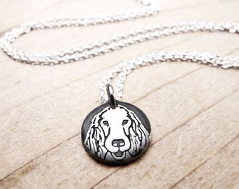 Tiny Irish Setter necklace, silver dog charm, dog memorial jewelry, remembrance necklace