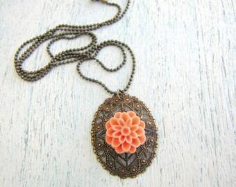 Vintage Oval Filigree Pendant with Peach Peony Flower