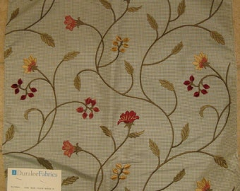 Embroidered Floral Botanical Polyester Lampas Designer Fabric Sample Gingham Checked Green
