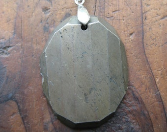 Clearance sale Charms on Chain, large pyrite stone on Base Metal Ball Chain Gifts under 15, Gifts for Her, gifts for Him