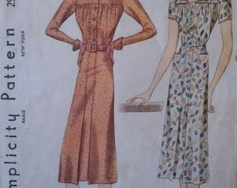 Vintage 30s Gathered Bodice Collarless Pointed Collar Shirtwaist Day Frock Dress w/Rick Rack Trim 2914 B34