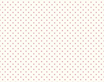 Riley Blake Designs, Swiss Dots in Cream Hot Pink  (C600 70)