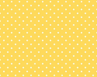 Riley Blake Designs, White Swiss Dot on Yellow  (C670 50) - cut options available