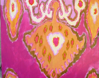 Orange and Pink Ikat  print