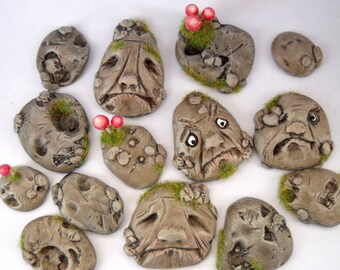 1/12TH scale - OOAK fairy fantasy stepping stones with faces   by lory
