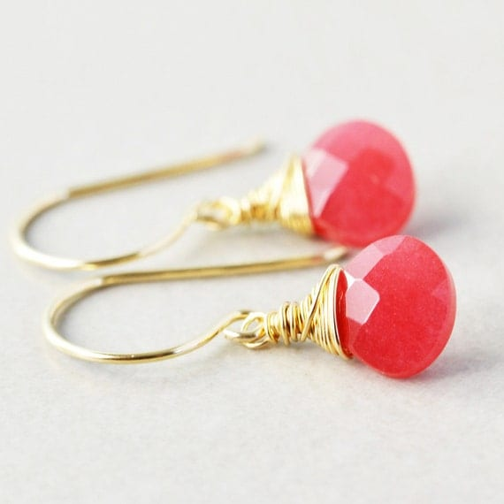 Cherry Jade Dangle Earrings, Raspberry Drop Earrings, Pink Earrings, Bridesmaid Gift