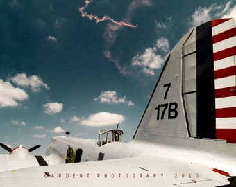 Patriotic Plane B18A Bolo Air Force Art Plane Red White and Blue Flying Art Wall Art Room Decor - To the Skies a Fine Art Photograph