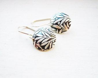 Fern Dome Earrings in Sterling Silver, Simple Dainty Sterling Silver Dome Botanical Flower Earrings