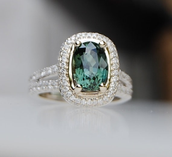 on hold for Cassey -2.82ct Green blue cushion sapphire diamond ring 18k  white gold