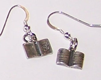 Sterling Silver 3D BOOK OF SHADOWS Earrings -  Wicca, Pagan, Amulet - Grimoire