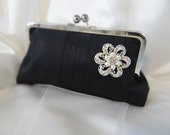 CLASSIC CLUTCH bridesmaid gifts with rhinestone brooch in silk Personalized Custom with Inscription Je t'aime or your choice