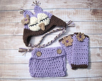 Baby Hat and Legwarmer Set, Diaper Cover Set, Crochet Baby Hat, Baby Girl Hat, Baby Owl Hat Infant, Baby Legwarmers, Newborn Owl Hat, Purple